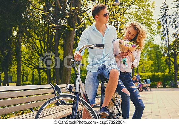 équitation, couple, park., vélo - csp57322804