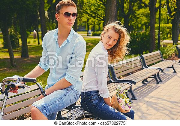 équitation, couple, park., vélo - csp57322775