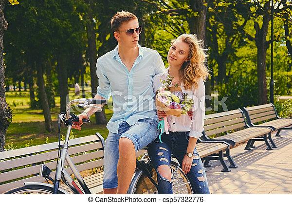équitation, couple, park., vélo - csp57322776