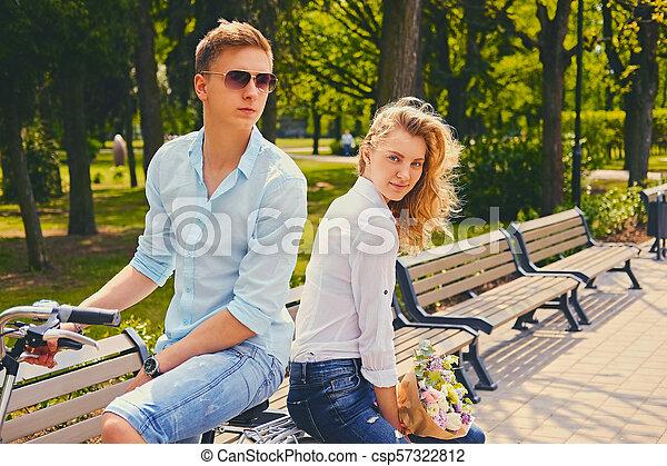 équitation, couple, park., vélo - csp57322812