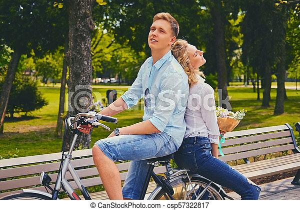 équitation, couple, park., vélo - csp57322817