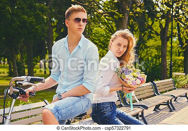 équitation, couple, park., vélo - csp57322791
