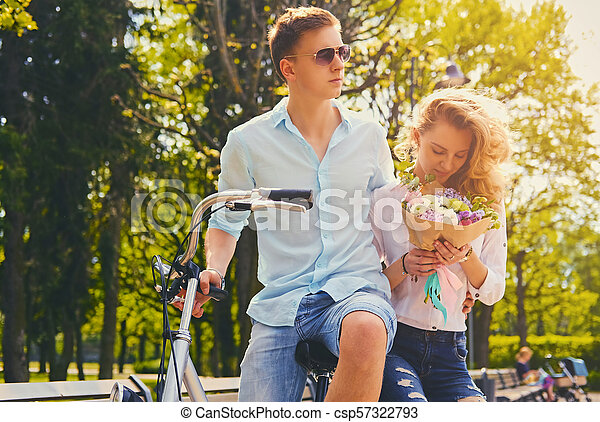 équitation, couple, park., vélo - csp57322793