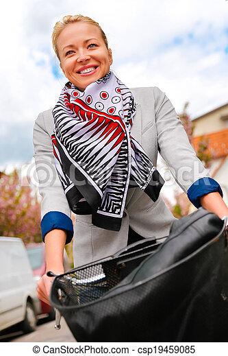 équitation, femme, bicycle. - csp19459085