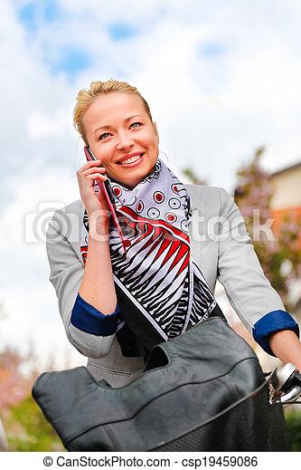 équitation, femme, bicycle. - csp19459086