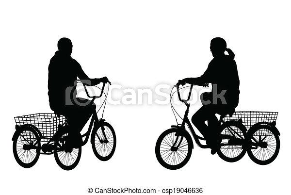 équitation, femme, jeune, tricycle - csp19046636