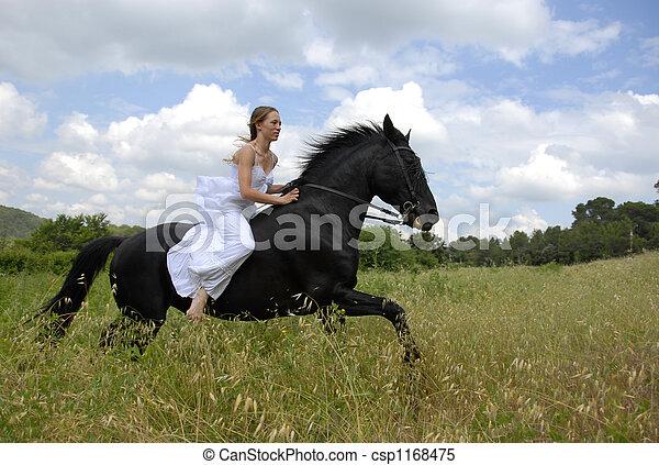 équitation, femme, mariage - csp1168475