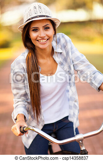 équitation, femme, vélo, jeune, dehors - csp14358837