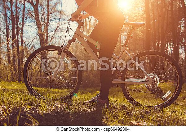 équitation, femme, vélo, jeune, forêt - csp66492304