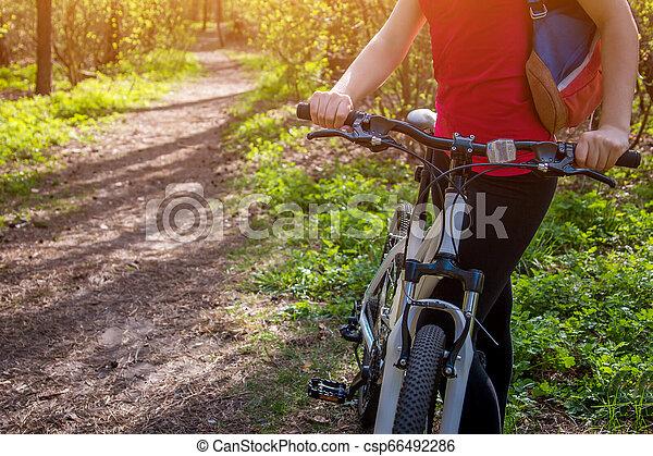 équitation, femme, vélo, jeune, forêt - csp66492286
