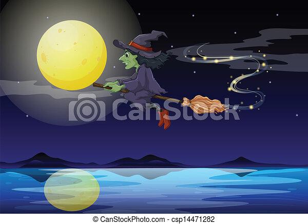 équitation, paysage, balai, sorcière, clair lune - csp14471282