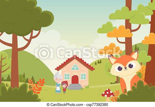 équitation, peu, capuchon, fée, rouges, maison, loup, conte, grand-maman - csp77392380