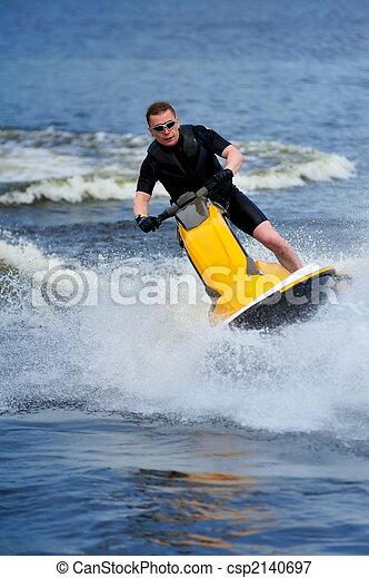 équitation, ski, jeune, jet, homme - csp2140697