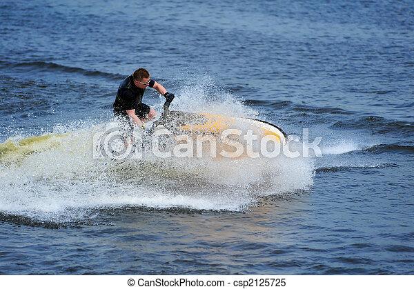 équitation, ski, jeune, jet, homme - csp2125725