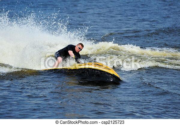 équitation, ski, jeune, jet, homme - csp2125723