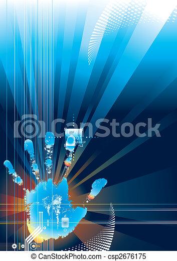 érint, biztonság, digitális - csp2676175