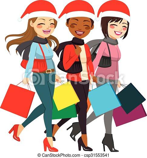 értékesítések, bevásárlás, nők, karácsony - csp31553541
