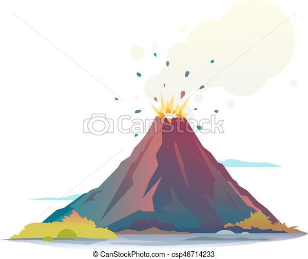 Eruption Volcan Fumee Isole Lave Eruption Disgorge Volcan Canstock