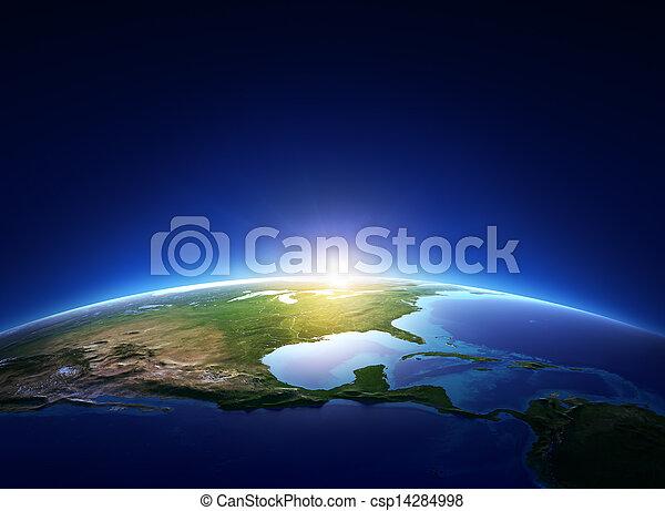 észak, felett, felhőtlen, földdel feltölt, amerika, napkelte - csp14284998