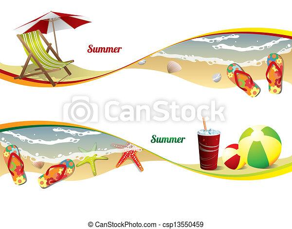 été, bannières, plage - csp13550459