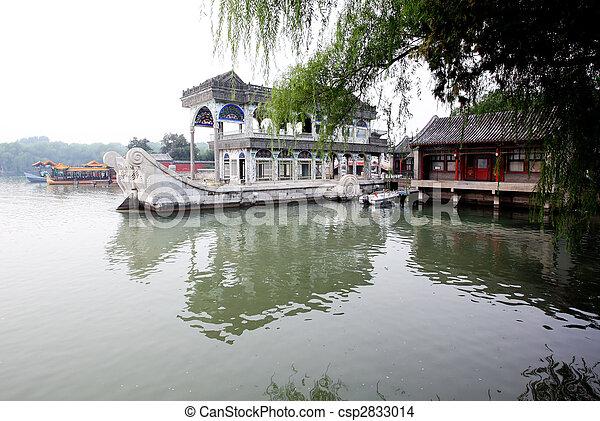 été, bateau, lac, palais, marbre - csp2833014