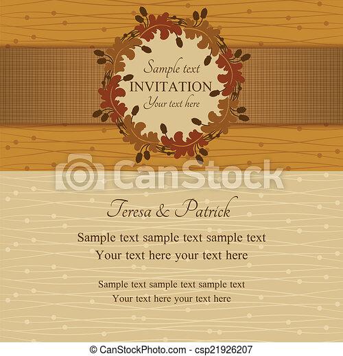 été, brun, automne, beige, invitation, ou - csp21926207