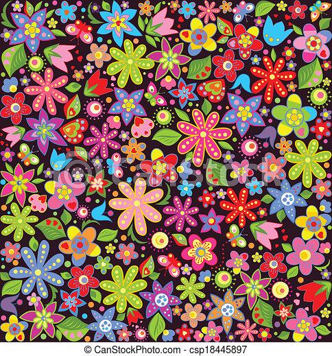 été, clair, papier peint, fleurs - csp18445897