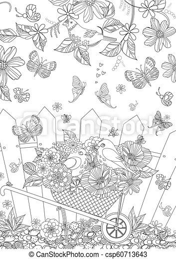 été, coloration, mignon, bo, oiseaux, fleurs, ton, paysage - csp60713643
