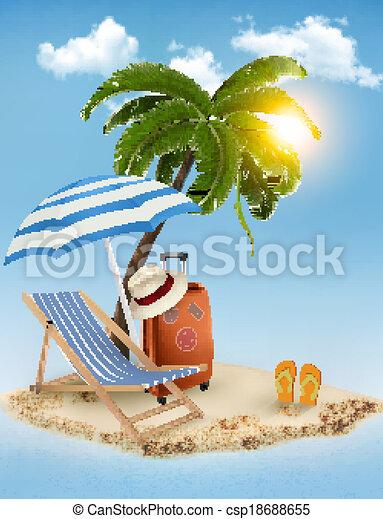 été, concept, arrière-plan., bord mer, vacances, arbre, parasol., paume, vector., chaise, plage, vue - csp18688655