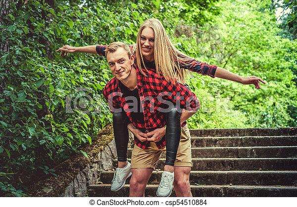 été, couple, amusement, park., sauvage, avoir, aimer - csp54510884