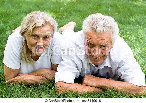 été, couple, parc - csp6149016
