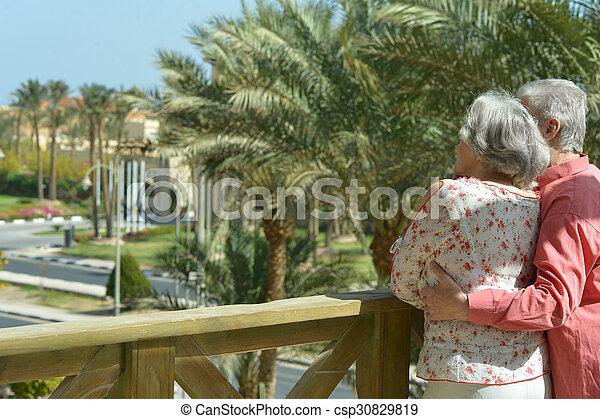 été, couple, parc, mûrir - csp30829819