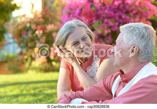 été, couple, parc, mûrir - csp30829836