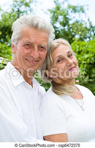 été, couple, parc, personnes agées - csp6472370