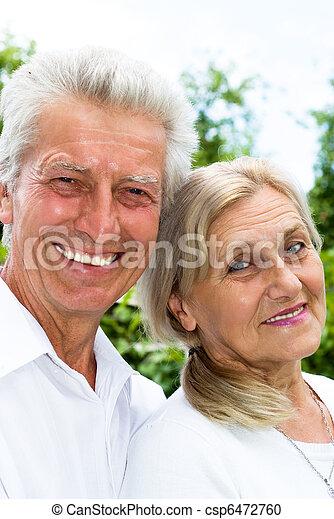 été, couple, parc, personnes agées - csp6472760