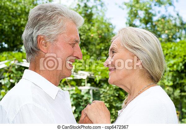 été, couple, parc, personnes agées - csp6472367