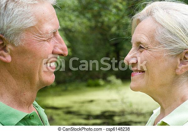 été, couple, parc, personnes agées - csp6148238