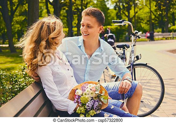 été, couple, park., dater - csp57322800
