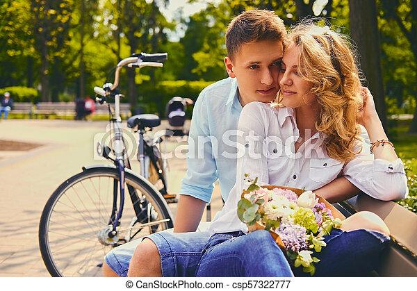 été, couple, park., dater - csp57322777