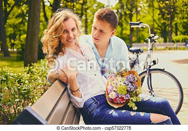 été, couple, park., dater - csp57322778