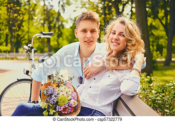été, couple, park., dater - csp57322779