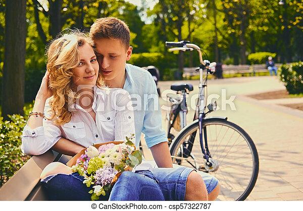 été, couple, park., dater - csp57322787