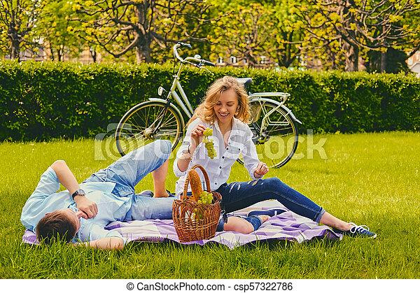 été, couple, park., pique-nique - csp57322786