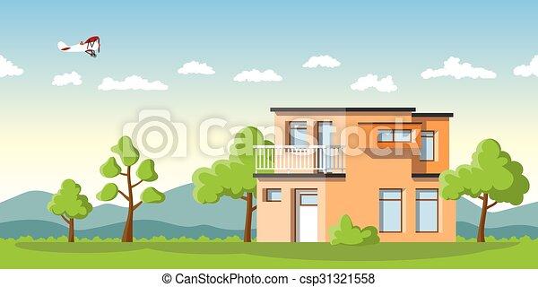 été, cube, moderne, paysage, maison