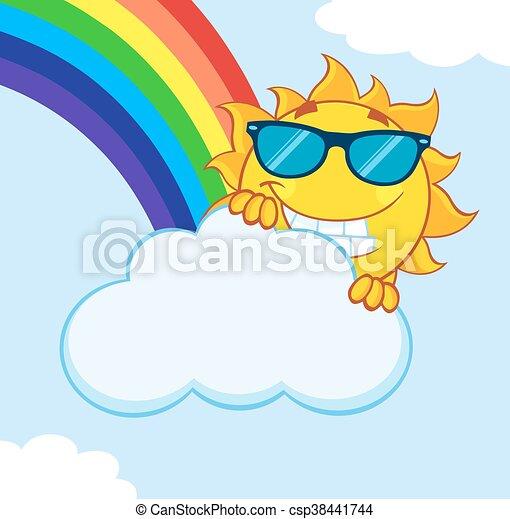 été, derrière, soleil, nuage, dissimulation - csp38441744