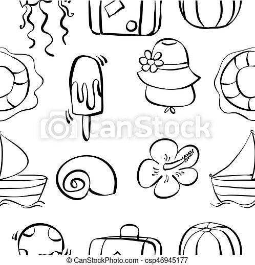 Ete Dessiner Objet Main Doodles Vacances Ete Dessiner Art Objet Main Vecteur Doodles Vacances Canstock