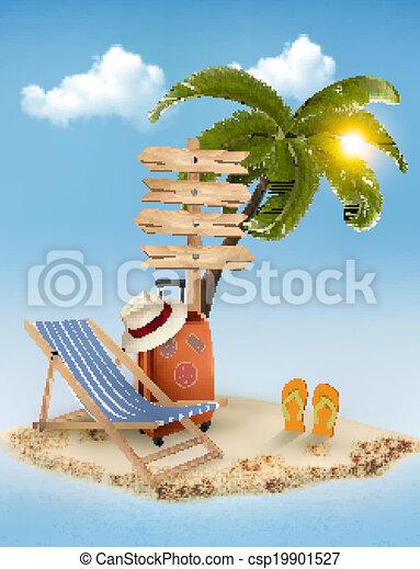 été, direction, concept, arrière-plan., vacances, signe, arbre, paume, chair., vector., plage - csp19901527