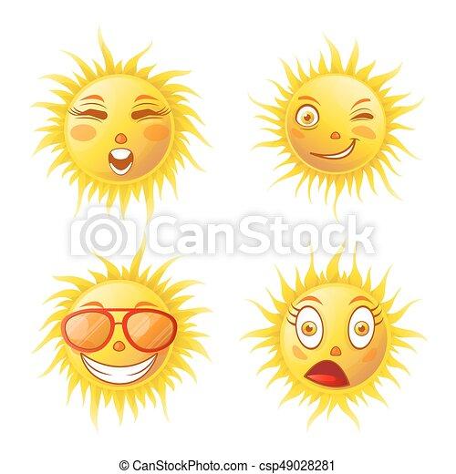 été Emoticons Ensemble Icônes Soleil Vecteur Faces Sourires Dessin Animé Emoji