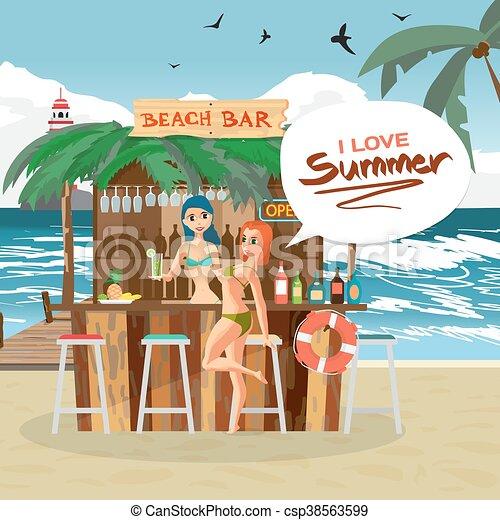 été Femme Barman Illustration Plat Visiteur Pavillons Océan Vacances Exotique Vecteur Coast Barre Plage Dessin Animé Paysage