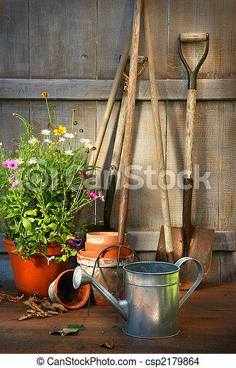 été, hangar, jardin, pot, fleurs, outils - csp2179864
